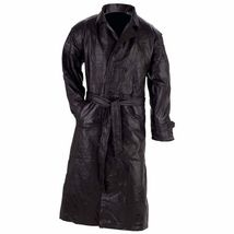 ALL SIZES MENS LEATHER BLACK LONG TRENCH COAT W/Belt Choose Size Winter ... - $54.10+