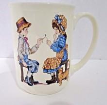 Otagiri Coffee Mug Gibson Greeting Chidren Pulling Wishbone Thanksgiving... - $13.99