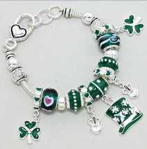 St Patricks Day Luch of the  Irish Claddagh Heart Beaded Charm Bracelet - $19.99