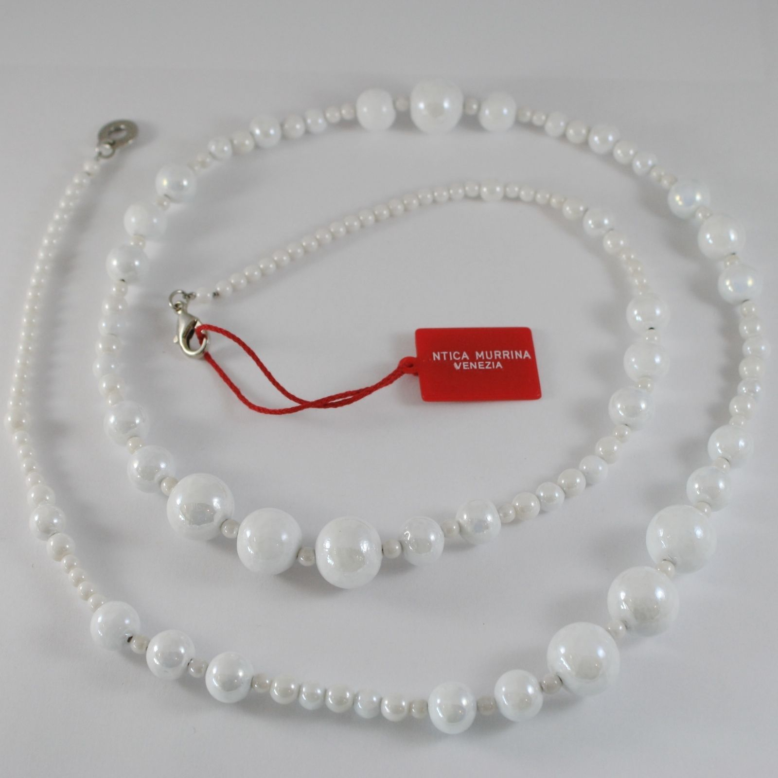 ANTICA MURRINA VENEZIA WHITE SPHERE LONG NECKLACE, PERLEADI, 100 CM, 36.4 INCHES