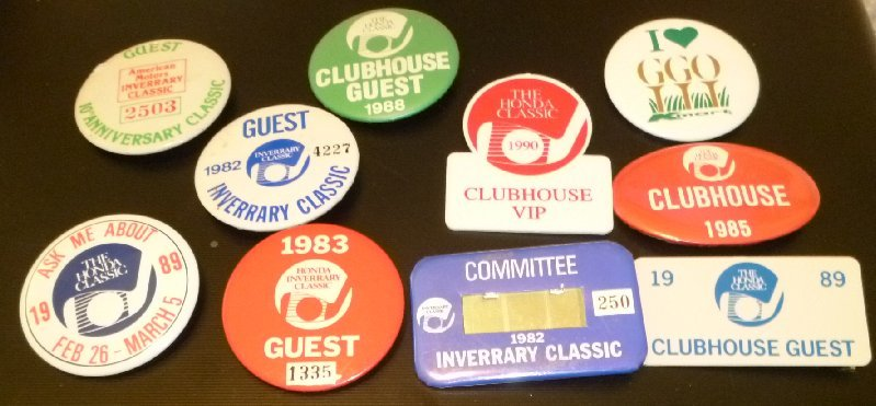 Lot 10 vtg mostly 80's 1982-1990 GOLF Button pins most INVERRARY & HONDA CLASSIC