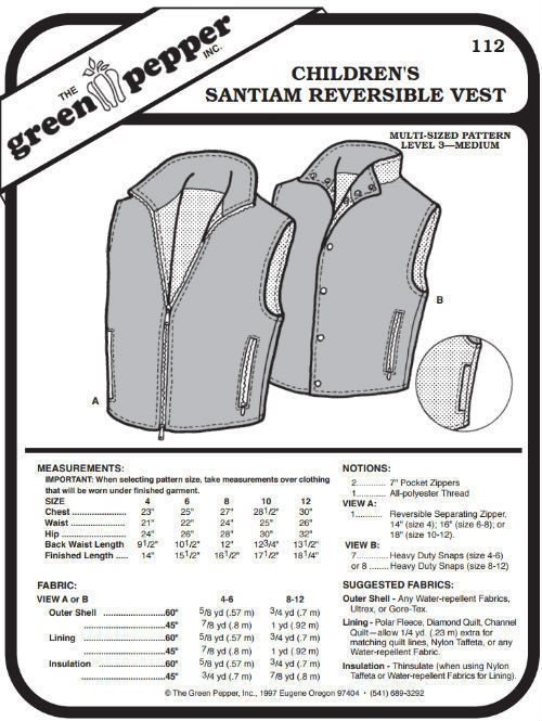 Primary image for Children's Santiam Reversible Vest #112 Sewing Pattern (Pattern Only)