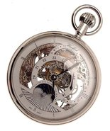 Silver coloured mechanical skeleton pocket watch with sun and moon and d... - $391.02