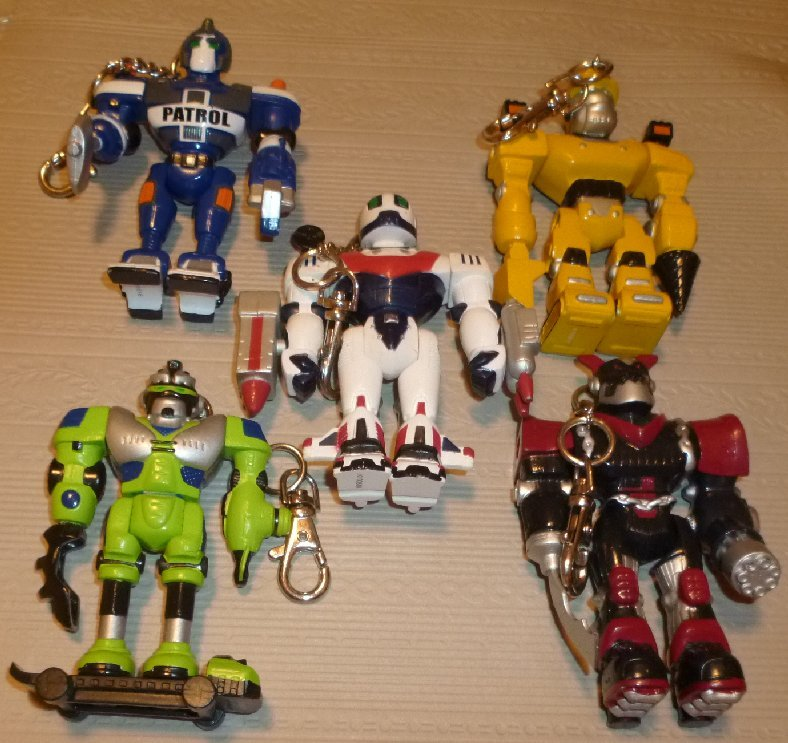 """Lot of 5 different ROBOT poseable action figures clip-on 4"""""""