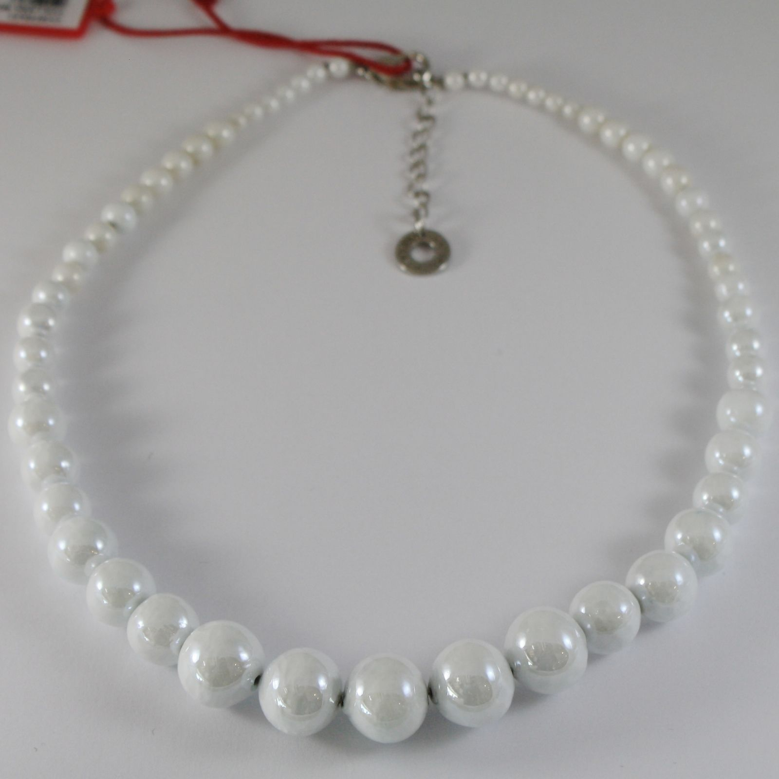 ANTICA MURRINA VENEZIA WHITE 15 MM SPHERE NECKLACE, PERLEADI, 50 CM, 20 INCHES