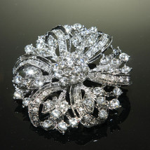 Wedding Round Crystal Flower Cake Decoration Rhinestone Brooch Pin Jewelry - $10.39