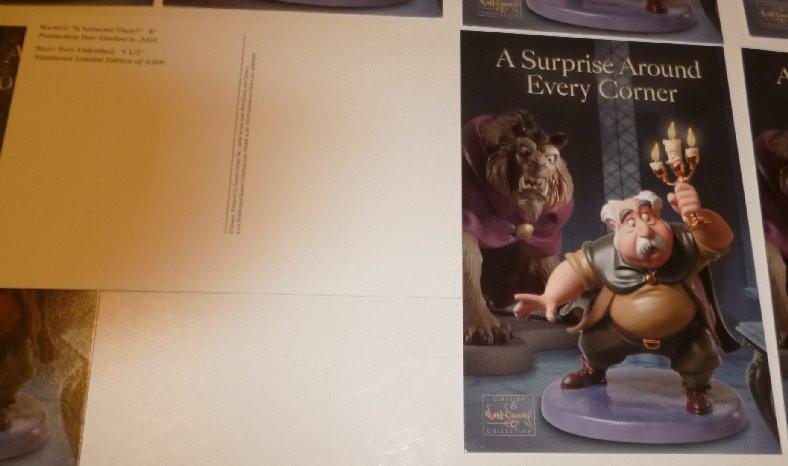 "Lot of 8 CWDC Disney MAURICE & BEAST Surprise Around Every Corner POSTCARD 4""x6"""