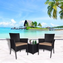 Outdoor 3 PC Bistro Sofa Table Set Wicker Conversation Sectional Furnitu... - $159.99