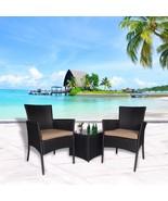 Outdoor 3 PC Bistro Sofa Table Set Wicker Conversation Sectional Furnitu... - $159.99