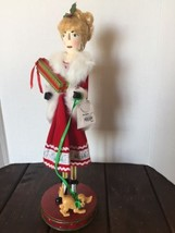 New Pier 1 Shopping Lady Red Fur Trench Coat Wooden Nutcracker Gifts Dog... - $84.14