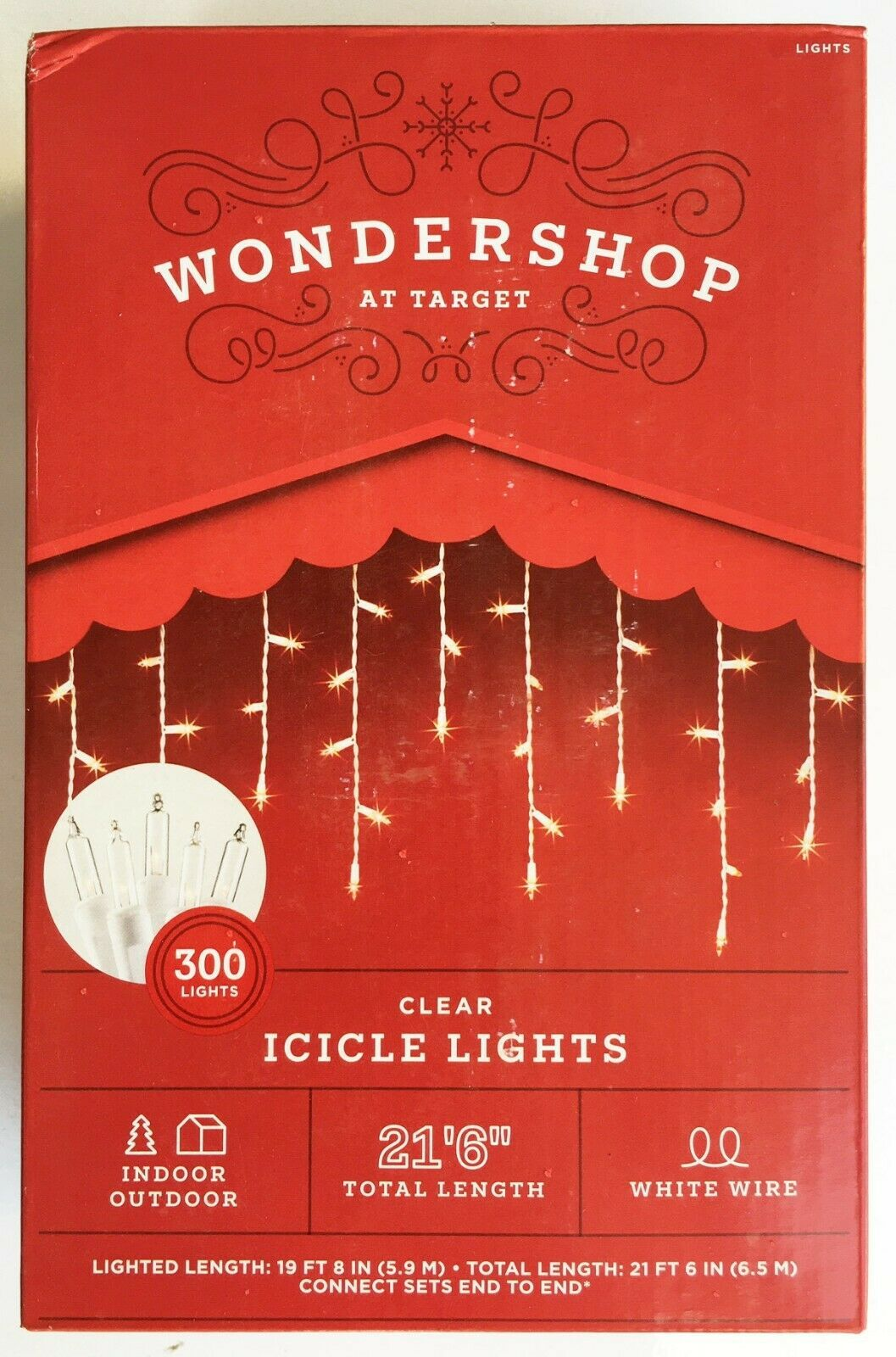 300ct Christmas Incandescent Icicle Lights Clear with White Wire - Wondershop