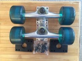 Longboard Trucks, & Clear Blue L/B Wheels 69mm Wedge Risers & Hardware - $34.65