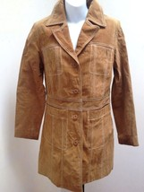 Wilsons S Brown Trench Coat Suede Leather - $29.37