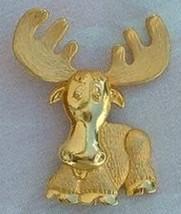 JJ Jonette Gold Tone Moose Brooch - Polished & Satin - $12.95