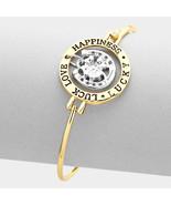 "Irish Luck Love Happiness Lucky"" Four Leaf Clover Bracelet  charm bracelet  - $19.99"