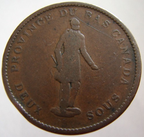 1837 ANTIQUE CANADA COIN over 170 Years Old Canadian Province One Penny large Co