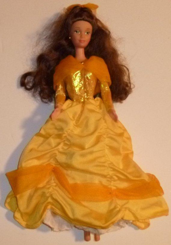 Mattel Princess BELLE Doll Disney wearing yellow gold fancy gown