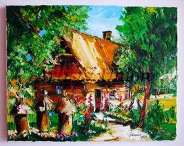 Beehives Cottage IMPASTO Original Oil Painting ... - $179.00