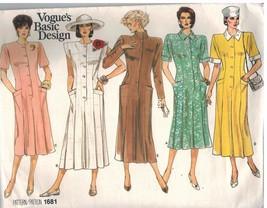 1681 sin Cortar Vogue Patrón de Costura Misses Semi Ajustado un Línea Ve... - $9.97
