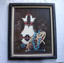 Edward A.Walker Navajo Artist Acrylic Canvas VANISHING TREASURE Chinle AZ - $375.00