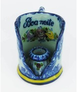 Vintage Hand Painted Boa Noite Portugal Ceramic Candle Holder Cup Numbered - $19.00