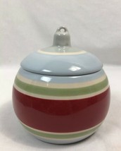 Longaberger Pottery Striped Christmas Ornament Candy Dish or Covered Bow... - $18.99