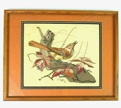 Vintage 1993 Cross Stitch Bird Nature Signed Textile Art Framed Animal P... - $34.64