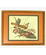 Vintage 1993 Cross Stitch Bird Nature Signed Textile Art Framed Animal P... - $34.64