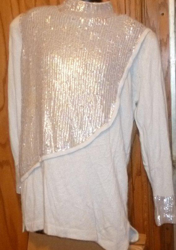 NWT MADELEINE silk blend sequin embellished pullover Sweater size L