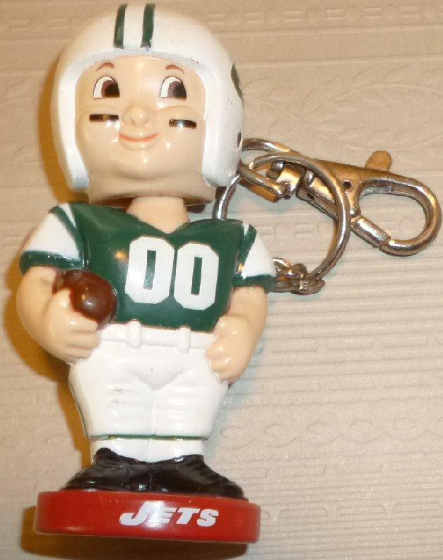 "NY JETS Football Player Bobble head Nodder keyring key chain clip-on 3.5"""