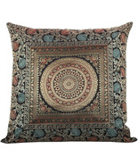 "16"" Traditional Brocade Mandala Design Cushion/Pillow Cover Black - $9.89"