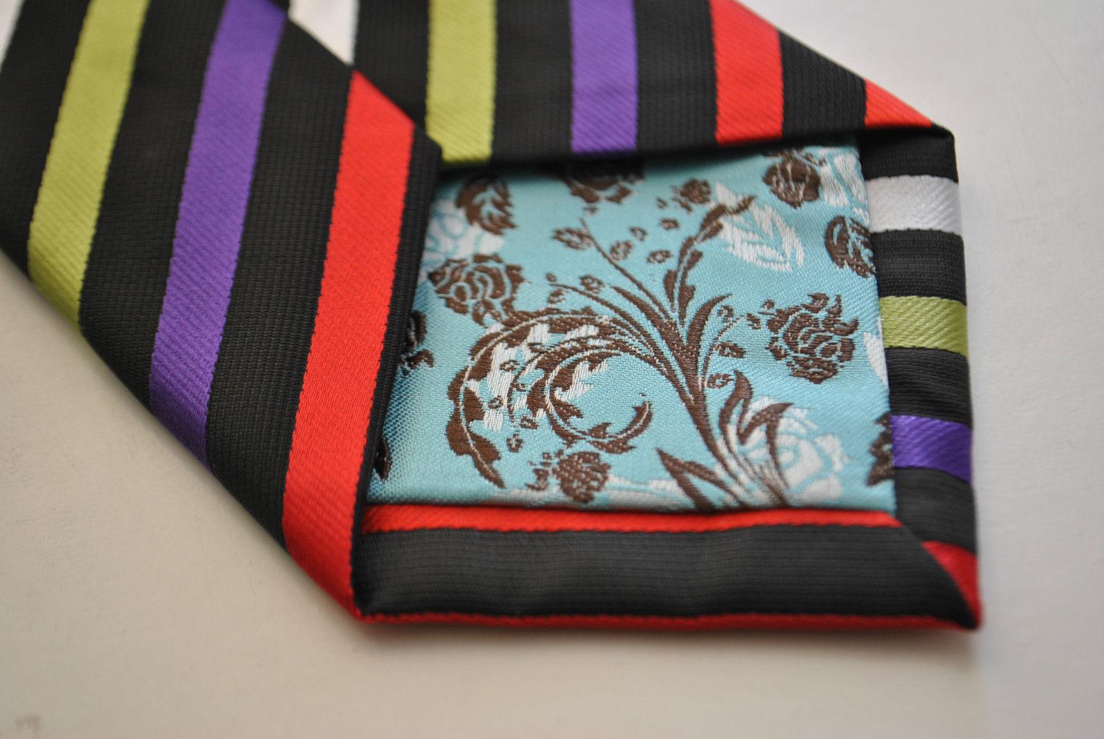 Frederick Thomas mehrfarbig Rainbow gestreift Handgefertigte Herren-Krawatte