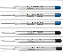 6 - 3 Blue+3 Black - 0.8 mm Parker Quink Ball Pen Refill, Fine, Brand New Sealed - $7.82