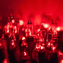 Case of Incandescent Christmas Light String 100 ct Red 2400 bulbs/24 strings - $169.00