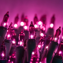 Case of Incandescent Christmas Light String 100 ct Purple 2400 bulbs/24 strings - $169.00