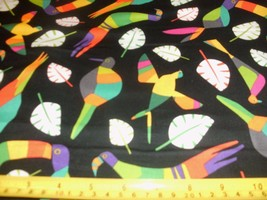 1/2 Yd Andover Quilt Fabric Parrots Leaf Leaves Bright Colors Orange Gre... - $5.09