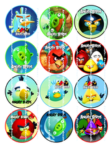 ANGRY BIRD:  12 edible image cupcake toppers 2.25 inch diameter - $8.78 - $8.78