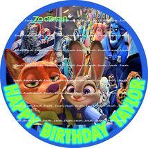 ZOOTOPIA: ROUND Personalized edible image cake topper 7.5 INCHES  - $8.78+