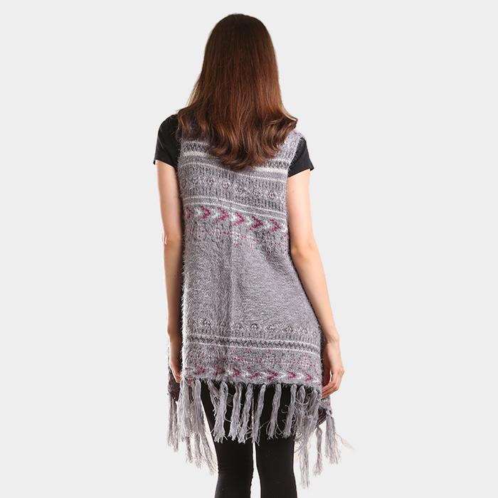 Boho Aztec pattern vest tunic poncho