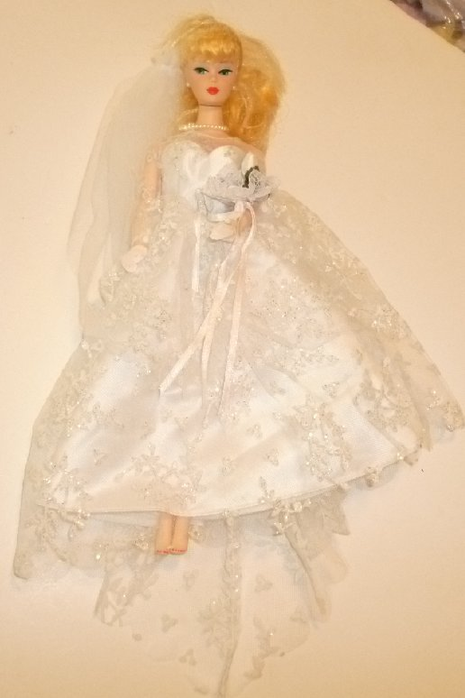 REPRO Reproduction BARBIE Doll Blonde Ponytail Bride wearing Wedding gown