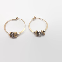Gold Tone Beaded Hoop Earrings - $13.86