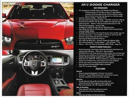 2012 Dodge CHARGER dealer sales brochure sheet 12 SXT R/T Road & Track SRT8 - $6.00