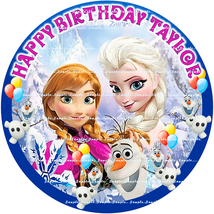 FROZEN: ROUND Personalized edible image cake topper 7.5 INCHES  - $8.78+