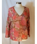 Avenue Fuzzy Pink Floral Sweater V neck Floral Pattern Gold Metallic sz ... - $19.80