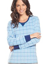 Jockey Women's Sleepwear Fleece Scoop Neck Sleep Top, polka dot, L - $11.75