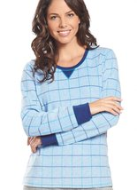 Jockey Women's Sleepwear Fleece Scoop Neck Sleep Top, polka dot, M - $9.99