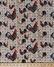 Cotton Roosters on Grid Farm Bird Cotton Fabric... - $10.84