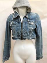 Twenty One 21 XS Denim Jacket Cropped Hooded - $19.57