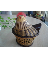 Vintage Rattan Woven Chicken Lid Covered Basket - $7.99