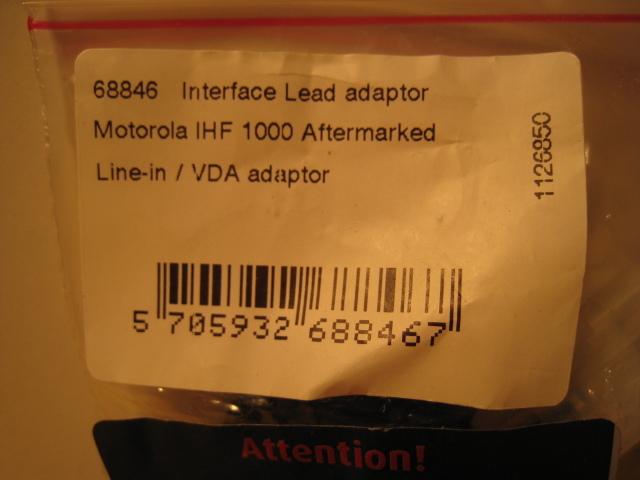 Nicestuff 68846 adapter for Motorola IHF carkits to handsfree harness